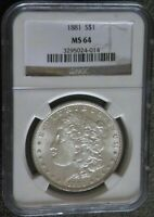 1881 MORGAN SILVER DOLLAR  NGC MINT STATE 64   COIN  3295024-014  POP 4,596