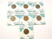 LOT OF 7 LINCOLN WHEAT CENTS-VARIOUS DATES AND MINT STATES- 1909-1912  L-027