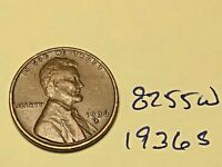 1936 S 1C LINCOLN WHEAT CENT CENT 8255W