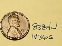 1936 S 1C LINCOLN WHEAT CENT CENT 8384W VG - F