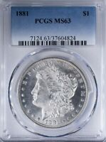 1881 MORGAN DOLLAR PCGS MINT STATE 63 FULLY FROSTY COIN, LIGHT CAMEO ON LIBERTY
