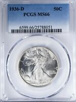 1936 D WALKING LIBERTY HALF PCGS MINT STATE 66 STRONG STRIKE WITH BLAZING LUSTER