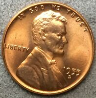 1955 D UNCIRCULATED BU RED RD LINCOLN WHEAT CENT PENNY  FREE SHIP. A300