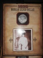 1898 MORGAN SILVER DOLLAR WITH 1994 NELLIE CASHMAN STAMP LEGENDS OF THE WEST MS