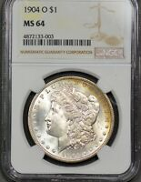 1904-O $1 MORGAN SILVER DOLLAR NGC MINT STATE 64 OBVERSE AND REVERSE TONING