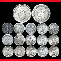 PHILIPPINES 50 & 10 CENTAVOS  17 SILVER COIN COLLECTION  ALL