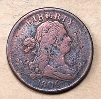 1806 DRAPED BUST HALF CENT  VF DETAILS