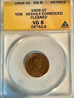 1909 VDB LINCOLN WHEAT CENT VG8 ANACS CERTIFIED