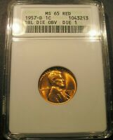 1957 D LINCOLN CENT DDO DIE 1 ANACS MS 65 RED FIERY RED LUSTROUS EXAMPLE