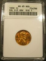 1959 LINCOLN CENT ANACS MS65 RED FS 101  022.2  DDO DIE 1 OLD SMALL WHITE HOLDER