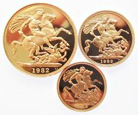 ELIZABETH II 1982 GOLD PROOF 3 COIN SET   TWO POUND SOVEREIGN & HALF SOV   FDC