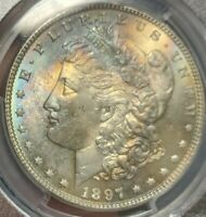 1897 PCGS MINT STATE 66 MORGAN SILVER DOLLAR $1 - TONED - TOP 100 VAM 6A PITTED REVERSE