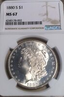 1880-S NGC MINT STATE 67 MORGAN SILVER DOLLAR