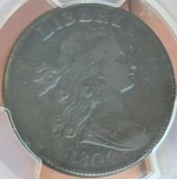 1802 PCGS EXTRA FINE -40 DRAPED BUST LARGE CENT 1C - NO STEMS S-231