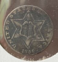 1858 3 CENT SILVER TRIME EXTRA FINE