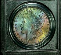 1888-O PCGS MINT STATE 64 MORGAN DOLLAR AMAZING RAINBOW COLOR TONING & LUSTER KEY DATE