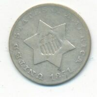 1851 THREE CENT SILVER PIECE-  CIRCULATED 3 CENT COIN-SHIPS FREE INV:2