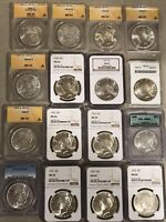 LOT OF 16 SILVER DOLLARS MS MORGAN SILVER AND PEACE PCGS NCG ANACS ICG CERTIFIED