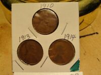 1910, 1913 1914 LINCOLN CENTS 2159