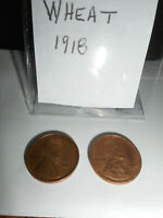 LINCOLN WHEAT CENT TWO 1918P COINS - HIGHER GRADE - GREAT DETAIL & PRICE