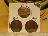 1910, 1911, 1914 LINCOLN CENTS 2167