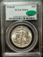 1936-D WALKING LIBERTY HALF DOLLAR - MINT STATE 64 - PCGS - CAC CERTIFIED - 1197