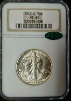 1945-D WALKING LIBERTY HALF DOLLAR - MINT STATE 64 - NGC - CAC CERTIFIED - 088