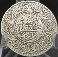 MOROCCO 5 DIRHAMS 1/2 RIAL MOULAY YOUSSEF I 1331  1913  AH PARIS OLD SILVER Z23