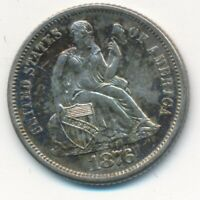 1876-S SEATED LIBERTY SILVER DIME-BEAUTIFUL UNCIRCULATED DIME-SHIPS FREE