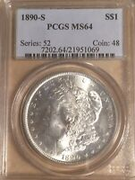 1890-S PCGS MINT STATE 64 MORGAN SILVER DOLLAR