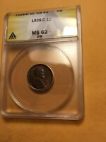 RARE 1928 D ANACS MS62RB KEY LINCOLN WHEAT CENT PENNY   CRIS