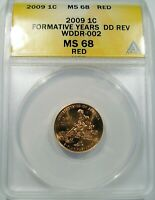 2009 LINCOLN CENT ANACS MS 68 FORMATIVE YEAR'S DD REV WDDR 002 FS 802  TOP POP