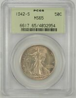 1942-S 50C WALKING LIBERTY SILVER HALF DOLLAR PCGS MINT STATE 65 OGH 4032954 EYE APPEAL