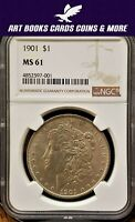 1901 MORGAN SILVER DOLLAR SILVER COIN NGC MINT STATE 61   TOUGH IN MS  KEY DATE