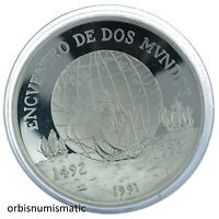 CHILE 10000 PESOS 1991 MEETING 2 WORLDS SILVER  PROOF IBERO AMERICAN ZG25 26