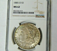 NGC MINT STATE 62 1885-O MORGAN SILVER DOLLAR NEW ORLEANS MINT CHOICE BU TONED