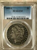 1892 S MORGAN SILVER DOLLAR F15 PCGS HIGHLY SOUGHT AFTER