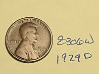 1929 D LINCOLN CENT WHEAT CENT GOOD 8306W
