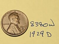 1929 D LINCOLN CENT 8380W WHEAT CENT G - VG