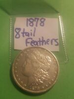 1878 MORGAN SILVER DOLLAR,  COIN WITH 8 TAIL FEATHERS