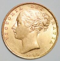 CHOICE 1880 QUEEN VICTORIA GOLD SHIELD SOVEREIGN