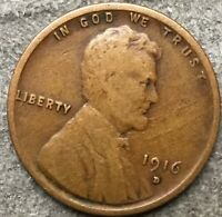 1916 D LINCOLN WHEAT CENT PENNY - BETTER GRADE  FREE SHIP. A568