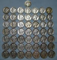 MERCURY DIMES LOT OF 50 US SILVER COINS ROLL OF SILVER COINS