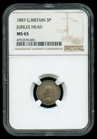 1887 GREAT BRITAIN SILVER 3 PENCE JUBILEE HEAD NGC MS 65