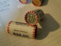 2 BANK ROLLS, $50 UNC 2007 D MINT JAMES MADISON PRESIDENTIAL DOLLAR UNCIRCULATED