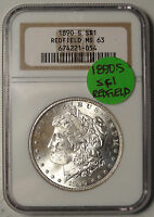 1890-S MORGAN DOLLAR, REDFIELD HOARD NGC MINT STATE 63 CERTIFIED COIN  0201-11