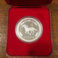 2002 LUNAR YEAR OF THE HORSE 1OZ SILVER PROOF COIN   AUSTRALIA PERTH MINT
