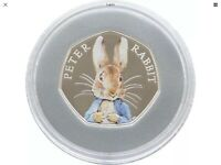 PETER RABBIT 2016 SILVER PROOF 50P COIN. LOW NUMBER LOWEST C