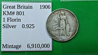 WORLD FOREIGN OLD BRITISH .925 SILVER 1906 COIN 1 FLORIN KM 801