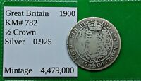 WORLD FOREIGN OLD BRITISH VICTORIA .925 SILVER 1900 COIN 1/2